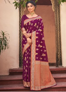 Designer Traditional Saree Woven Cotton Silk in Wine