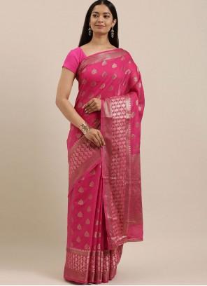 Designer Traditional Saree Woven Handloom Cotton in Pink
