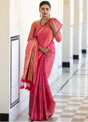 Designer Traditional Saree Woven Kanchipuram Silk in Hot Pink