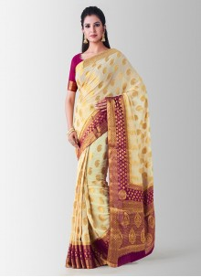 Designer Traditional Saree Zari Art Silk in Beige