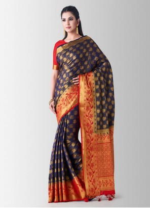 Designer Traditional Saree Zari Art Silk in Navy Blue