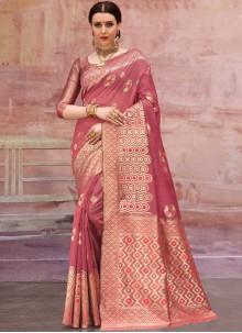Designer Traditional Saree Zari Cotton in Pink