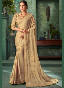 Designer Traditional Saree Zari Faux Georgette in Gold