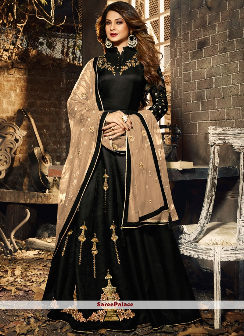 Desinger Anarkali Salwar Suit Embroidered Silk in Black