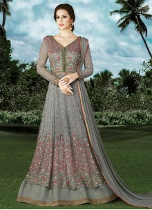 Desirable Embroidered Work Net Floor Length Anarkali Suit