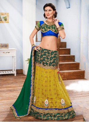 Desirable Fancy Fabric Multi Colour A Line Lehenga Choli