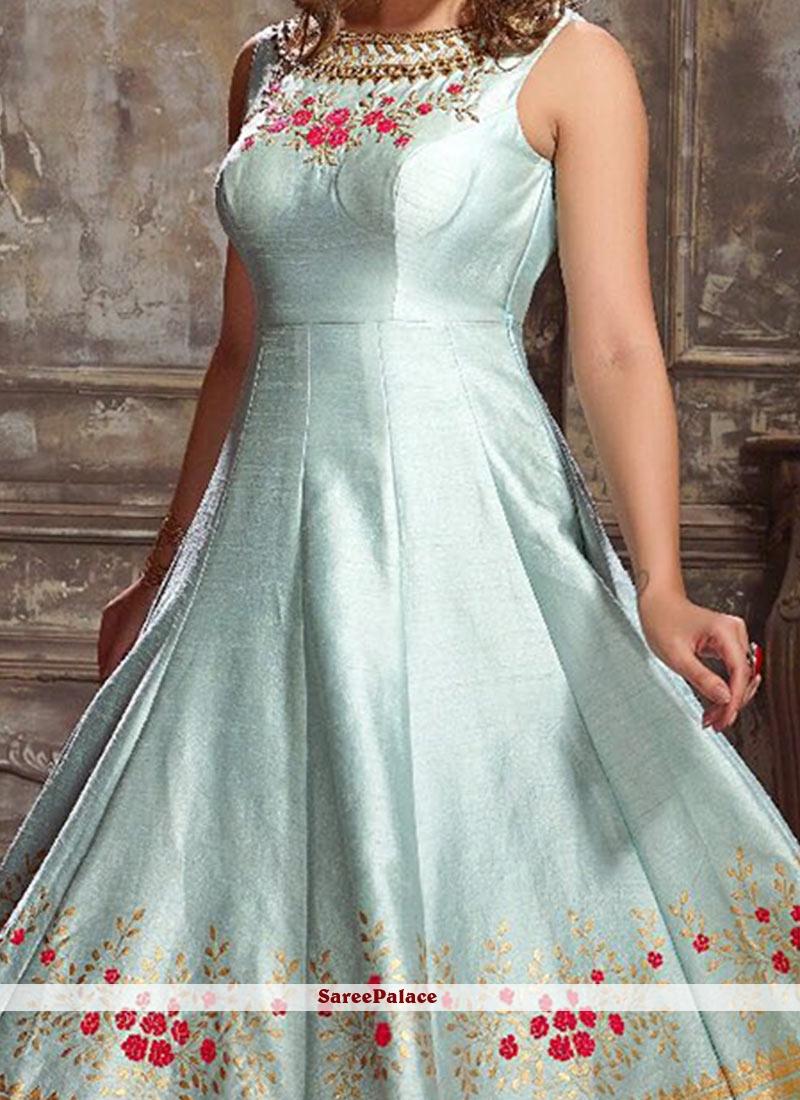 Buy Desirable Hand Work Work Art Silk Readymade Anarkali Suit Online