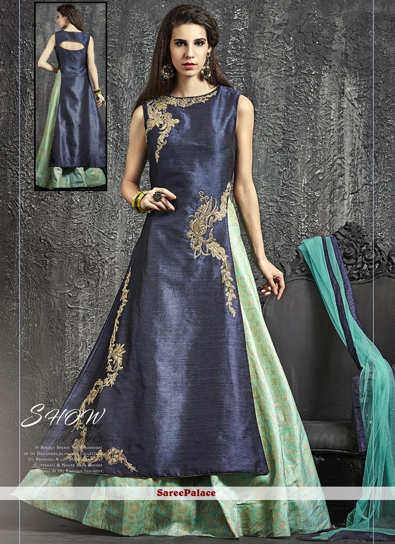 Desirable Navy Blue and Sea Green Kasab Work Banarasi Silk Lehenga Choli