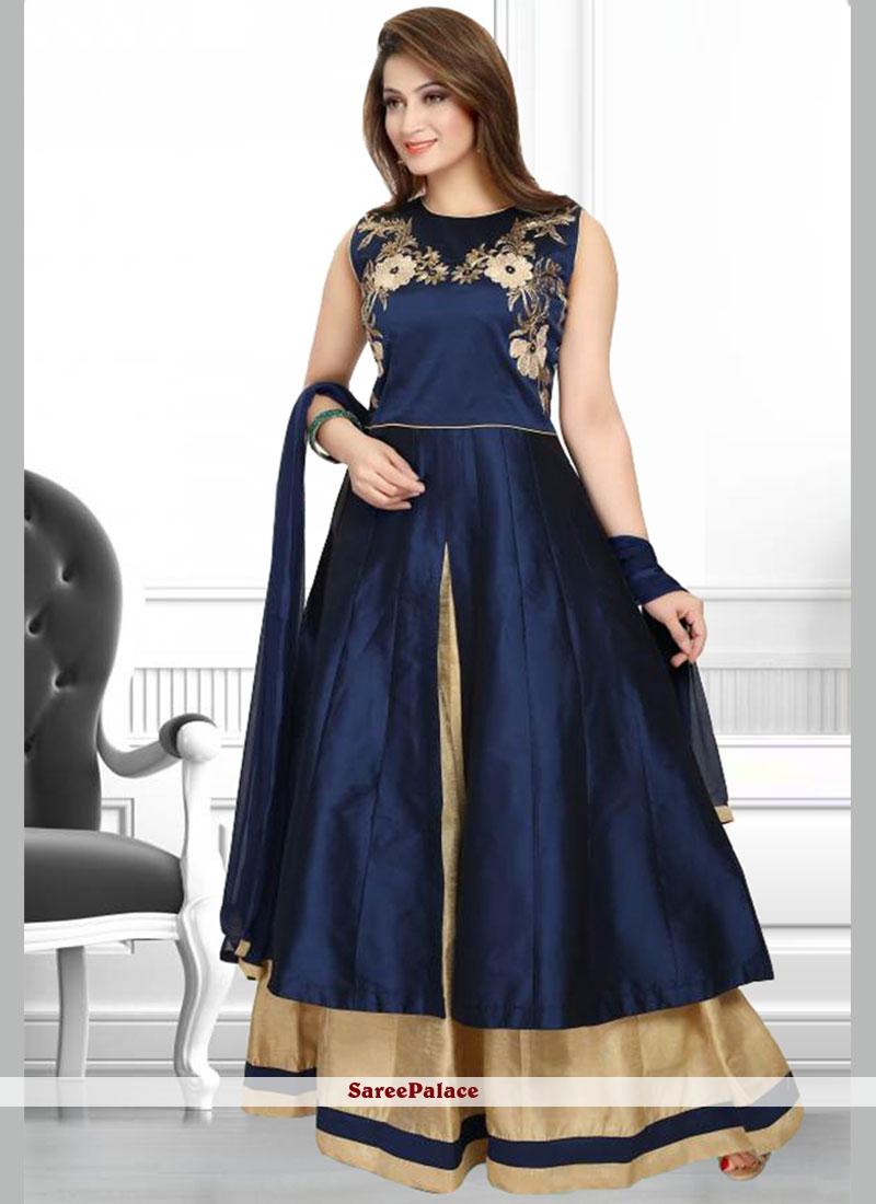Desirable Navy Blue Art Silk Anarkali Salwar Suit