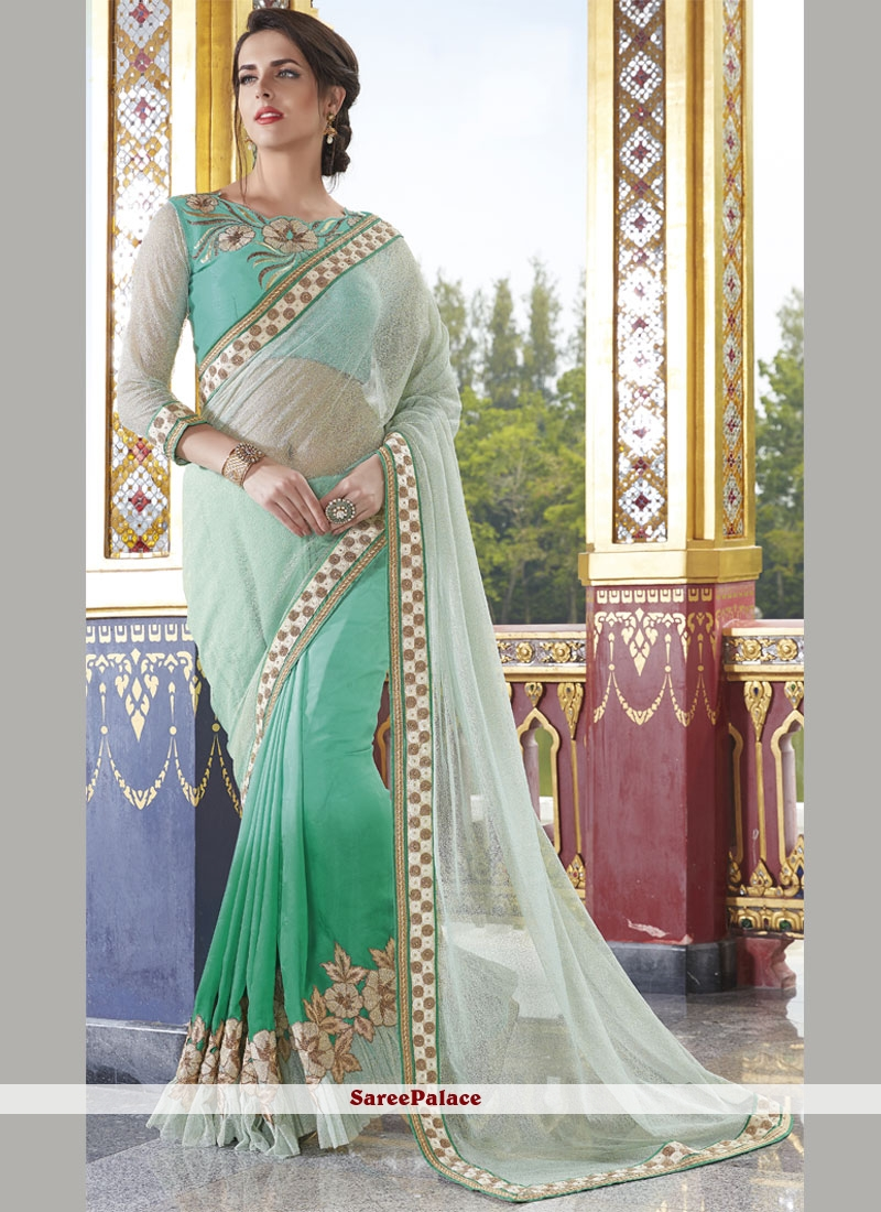 Desirable Off White and Sea Green Georgette Designer Half N Half Saree