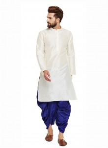 Dhoti Kurta Plain Art Banarasi Silk in White