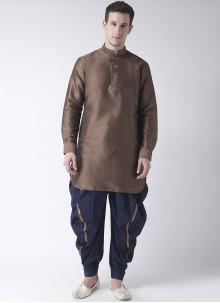 Dhoti Kurta Plain Art Dupion Silk in Brown