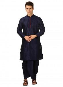 Dhoti Kurta Plain Art Dupion Silk in Navy Blue