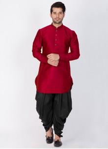 Dhoti Kurta Plain Art Raw Silk in Maroon