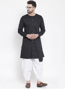 Dhoti Kurta Plain Cotton in Black