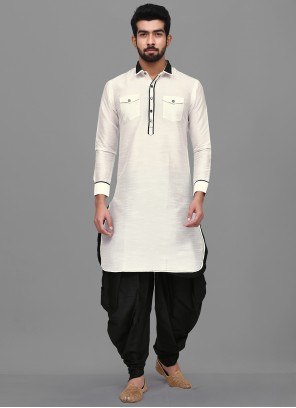 Dhoti Kurta Plain Dupion Silk in Off White