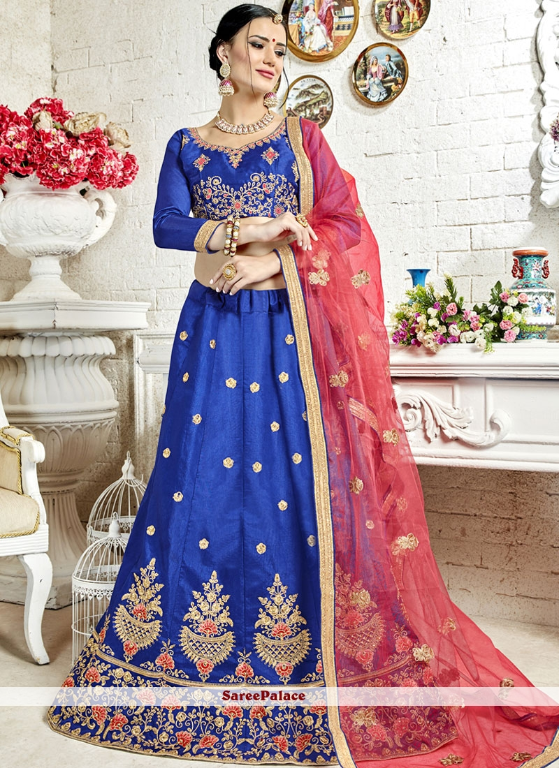 Diamond Banglori Silk Blue Lehenga Choli