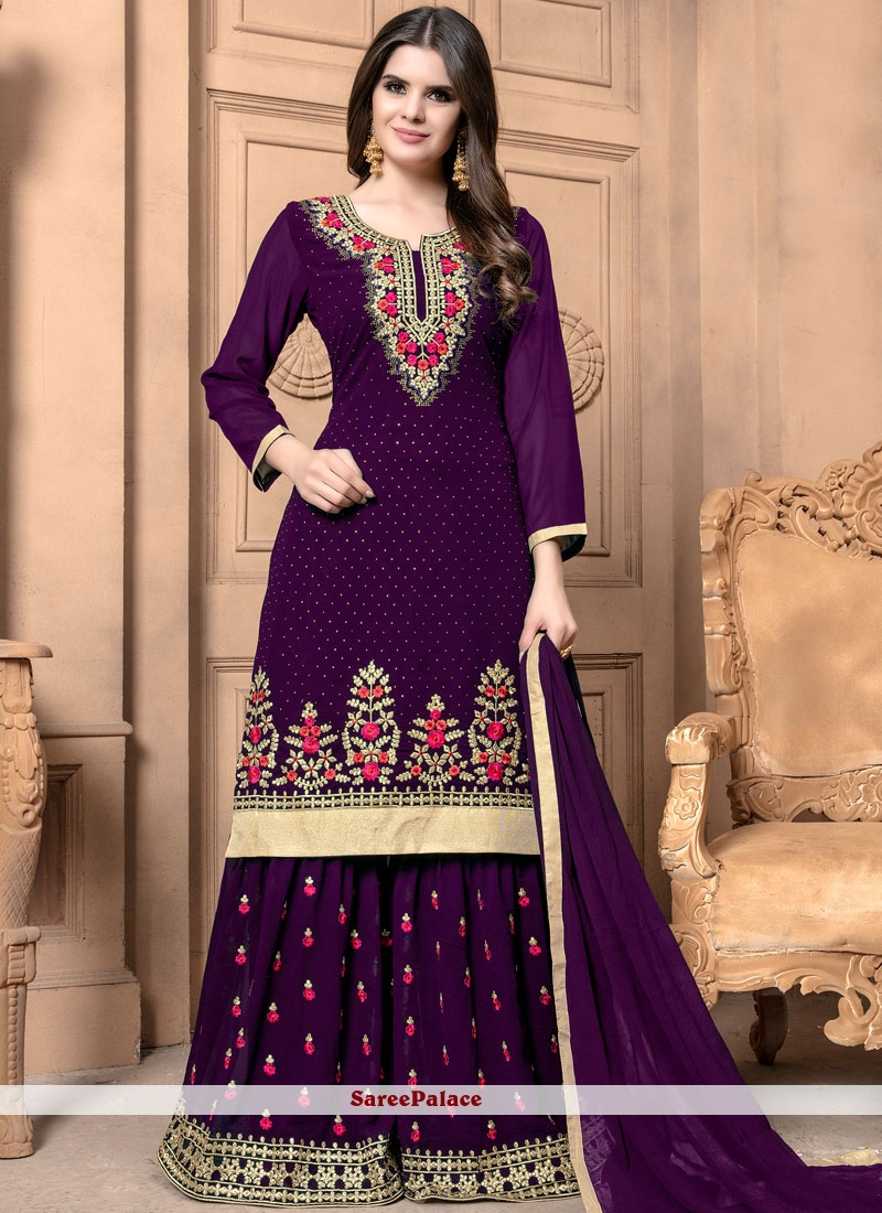Purple Diamond Designer Palazzo Suit
