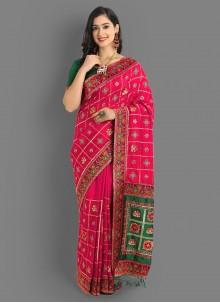Diamond Magenta Embroidered Silk Saree