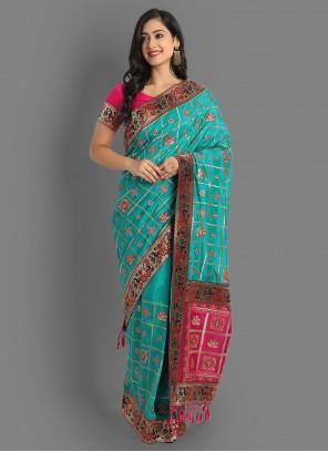 Diamond Mehndi Silk Teal Saree