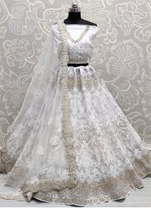 Off White Diamond Net Lehenga Choli