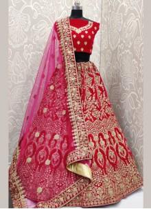 Diamond Pink Velvet Designer Lehenga Choli