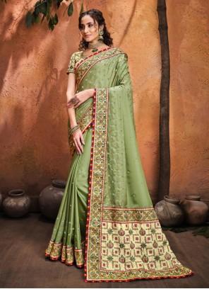Diamond Satin Green Classic Saree
