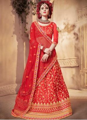 Diamond Satin Silk Designer Lehenga Choli in Red