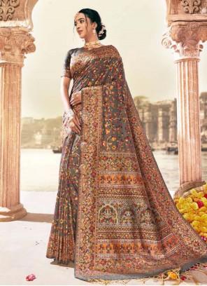 Digital Print Grey Banarasi Silk Contemporary Style Saree