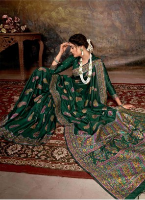Digital Print Banarasi Silk Trendy Saree in Green