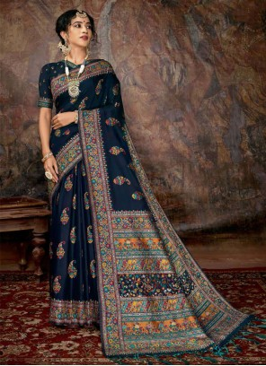Digital Print Black Banarasi Silk Silk Saree