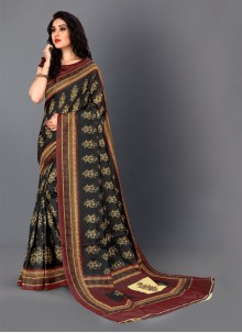Digital Print Black Silk Classic Saree