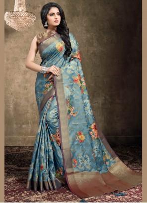 Digital Print Blue Classic Designer Saree
