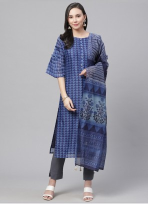 Digital Print Chanderi Bollywood Salwar Kameez in Blue