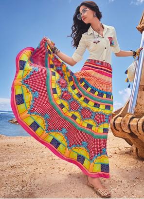 Multi Colour Digital Print Chanderi Lehenga Choli