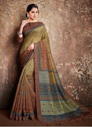 Handloom Silk Digital Print Classic Designer Saree