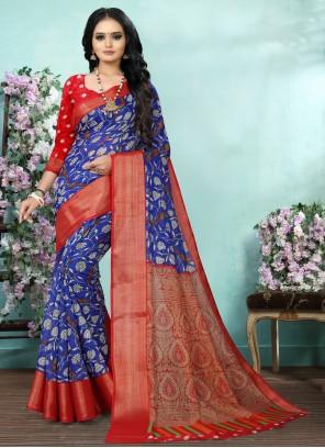 Digital Print Cotton Blue Saree