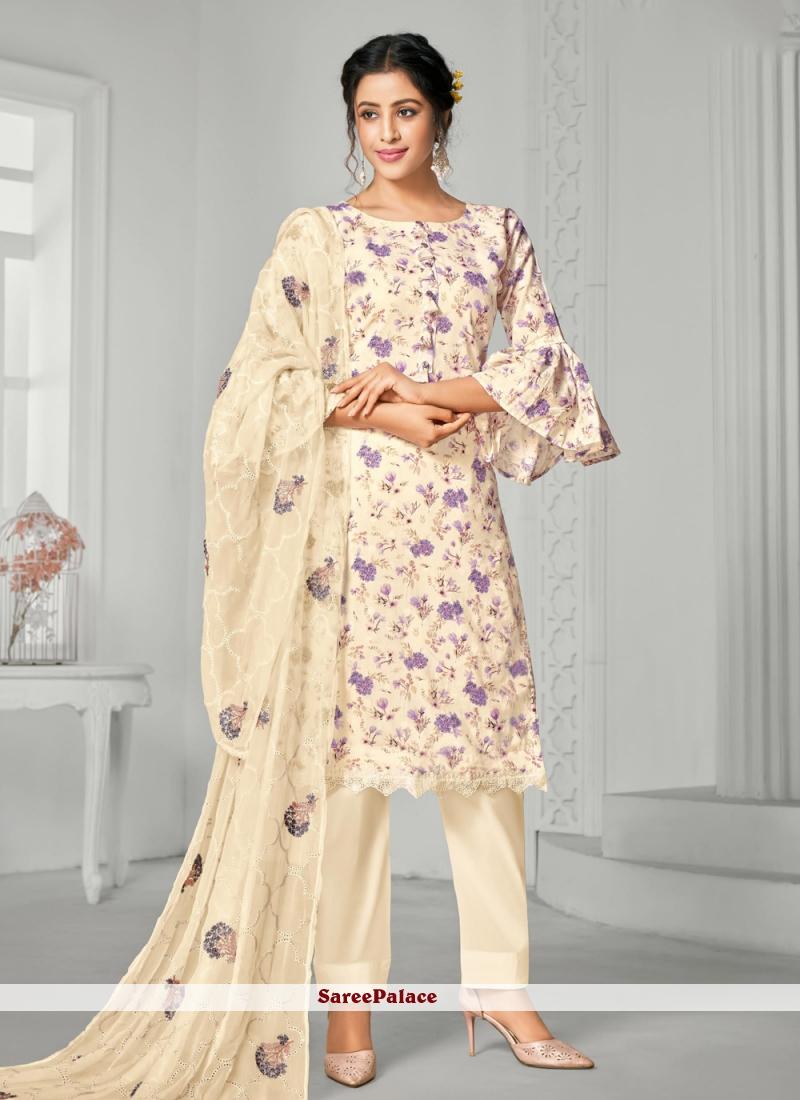 Digital Print Cotton Bollywood Salwar Kameez in White