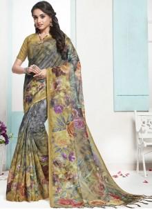 Digital Print Cotton Designer Traditional Saree