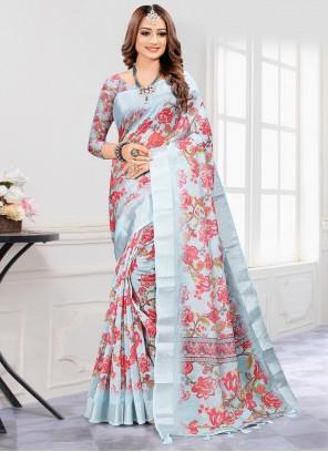 Digital Print Cotton Grey Saree