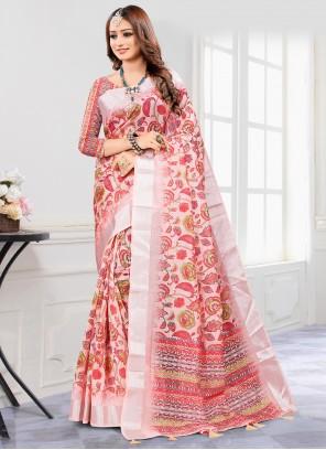 Pink Digital Print Cotton Saree