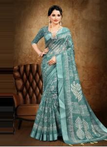 Digital Print Cotton Rama Saree