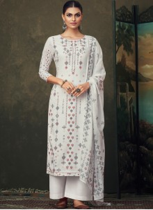 Digital Print Cotton Salwar Kameez in Off White