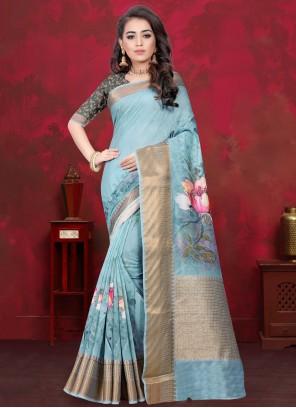 Digital Print Cotton Silk Blue Traditional Saree