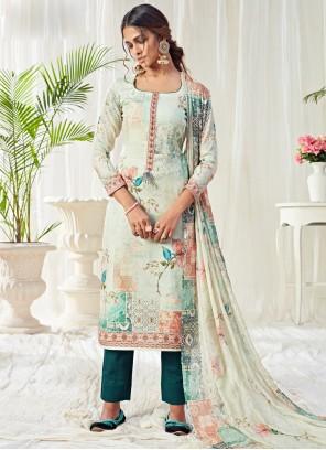Digital Print Cotton Trendy Straight Salwar Suit in Multi Colour