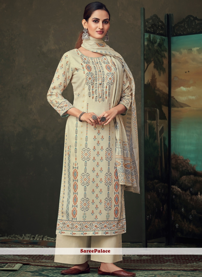 Digital Print Cream Cotton Palazzo Suit