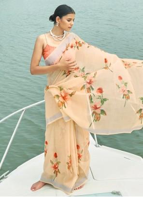 Digital Print Cream Linen Bollywood Saree