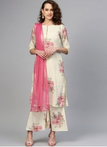 Digital Print Crepe Silk Designer Palazzo Salwar Suit in Cream