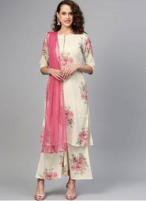 Digital Print Crepe Silk Designer Palazzo Salwar Suit in Cream