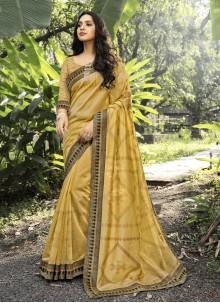 Gold Digital Print Designer Traditional Saree